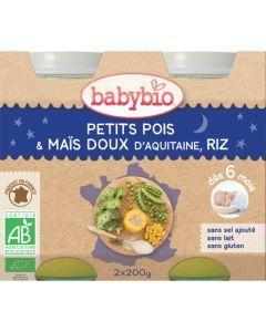 Babybio Petits Pots Bonne Nuit Petits Pois, Maïs Doux d'Aquitaine, Riz Biologique dès 6 Mois 2x200g