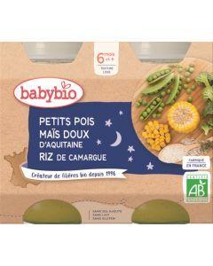Babybio Petits Pois Maïs Doux d'Aquitaine Riz de Camargue dès 6 mois 2x200g