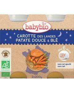 Babybio Petits Pots Bonne Nuit Carotte des Landes, Patate Douce, Blé Biologique dès 6 Mois 2x200g