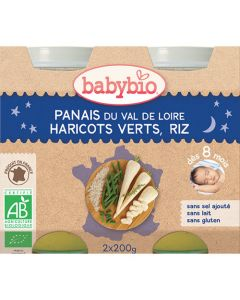 Babybio Petits Pots Bonne Nuit Panais, Haricots Verts, Riz Biologique dès 8 Mois 2x200g