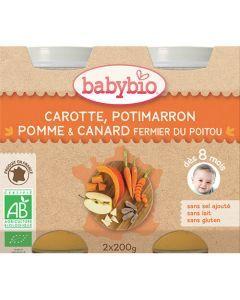 Babybio Petits Pots Carotte, Potimarron, Pomme, Canard Fermier Biologique dès 8 Mois 2x200g