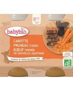 Babybio Carotte Pruneau d'Agen Bœuf Fermier de Nouvelle-Aquitaine dès 8 mois 2x200g