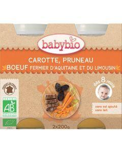 Babybio Petits Pots Carotte, Pruneau, Bœuf Fermier Biologique dès 8 Mois 2x200g
