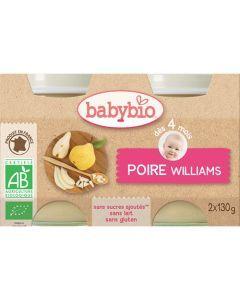 Babybio Petits Pots Poire Williams Biologique dès 4 Mois 2x130g