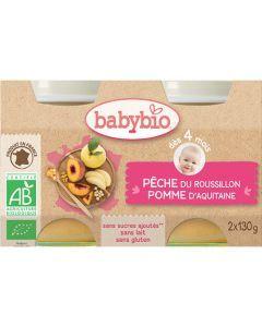 Babybio Petits Pots Pêche & Pomme d\'Aquitaine Biologique dès 4 Mois 2x130g
