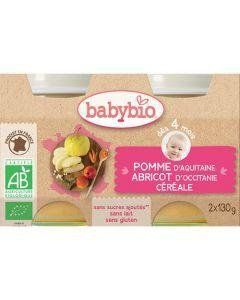 Babybio Petits Pots Pomme, Abricot d\'Occitanie, Céréale Biologique dès 4 Mois 2x130g