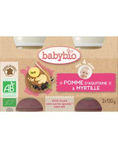 Babybio Petits Pots Pomme d\'Aquitaine & Myrtille Biologique dès 4 Mois 2x130g