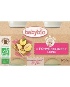 Babybio Petits Pots Pomme d\'Aquitaine & Coing Biologique dès 4 Mois 2x130g