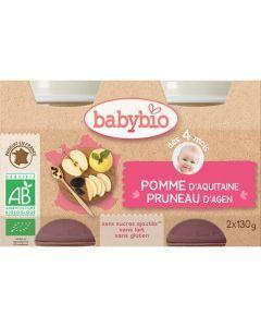 Babybio Petits Pots Pomme & Pruneau d\'Aquitaine Biologique dès 4 Mois 2x130g