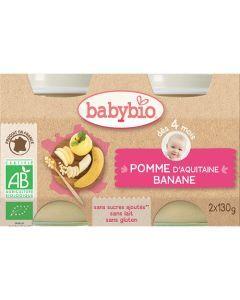 Babybio Petits Pots Pomme & Banane Biologique dès 4 Mois 2x130g
