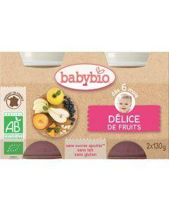 Babybio Petits Pots Délice de Fruits Biologique dès 6 Mois 2x130g