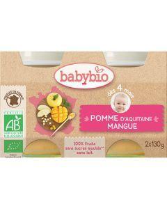 Babybio Petits Pots Pomme d'Aquitaine & Mangue Biologique dès 4 Mois 2x130g