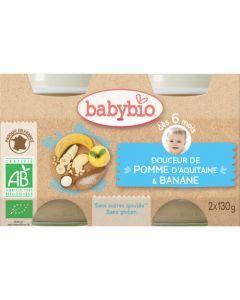 Babybio Petits Pots Douceur de Pomme d\'Aquitaine & Banane Biologique dès 6 Mois 2x130g
