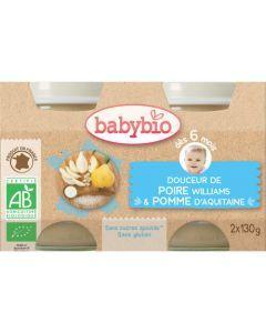 Babybio Petits Pots Douceur de Poire Williams & Pomme d'Aquitaine Biologique dès 6 Mois 2x130g