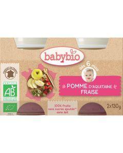 Babybio Petits Pots Pomme d'Aquitaine & Fraise Biologique dès 6 Mois 2x130g