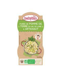 Babybio Bols Purée de Pomme de Terre & Artichaut Biologique dès 12 Mois 2x200g