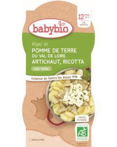 Babybio Pomme de Terre du Val de Loire Artichaut Ricotta avec Persil dès 12 mois 2x200g