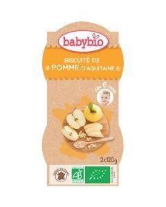 Babybio Bols Biscuité de Pomme d'Aquitaine Biologique dès 6 Mois 2x120g