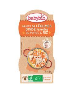 Babybio Bols Mijoté de Légumes, Dinde fermière, Riz Biologique dès 8 Mois 2x200g