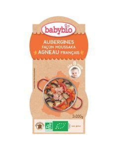 Babybio Bols Aubergines façon Moussaka & Agneau dès Biologique 8 Mois 2x200g