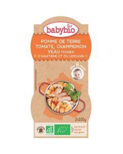 Babybio Bols Pomme de Terre, Tomate, Champignon, Veau Biologique dès 8 Mois 2x200g