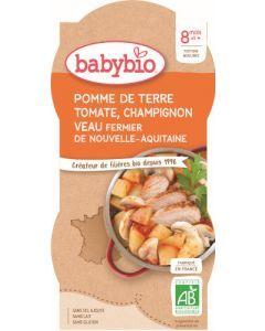 Babybio Pomme de Terre Tomate Champignon Veau Fermier de Nouvelle-Aquitaine dès 8 mois 2x200g