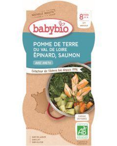 Babybio Pomme de Terre du Val de Loire Épinard Saumon dès 8 mois 2x200g