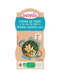 Babybio Bols Pomme de Terre, Épinard, Saumon Biologique dès 8 Mois 2x200g