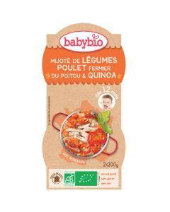 Babybio Bols Mijoté de Légumes, Poulet, Quinoa Biologique dès 12 Mois 2x200g