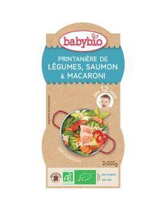 Babybio Bols Printanière de Légumes, Saumon, Macaroni Biologique dès 12 Mois 2x200g