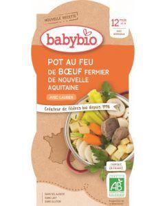 Babybio Pot au Feu de Boeuf Fermier de Nouvelle-Aquitaine avec Laurier dès 12 mois 2x200g