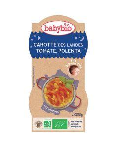Babybio Bols Carotte des Landes, Tomate, Polenta Biologique dès 12 Mois 2x200g