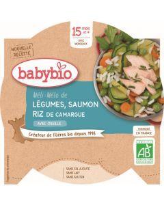 Babybio Méli-Mélo de Légumes Saumon Riz de Camargue avec Oseille dès 15 mois 260g