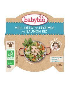 Babybio Assiette Méli-Mélo de Légumes au Saumon & Riz Biologique dès 15 Mois 260g
