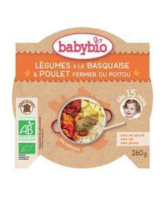 Babybio Légumes à la Basquaise Poulet Fermier du Poitou avec Paprika dès 15 mois 260g