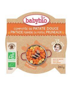 Babybio Assiette Compotée de Patate Douce & Pintade aux Pruneaux Biologique dès 15 Mois 260g