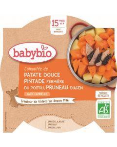 Babybio Compotée de Patate Douce Pintade Fermière du Poitou Pruneaux d'Agen avec Cannelle dès 15 mois 260g