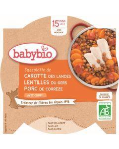 Babybio Cassolette de Carotte des Landes Lentilles du Gers Porc de Corrèze avec Cumin dès 15 mois 260g
