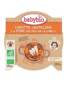 Babybio Assiette Carotte, Lentillons, Porc Biologique dès 15 Mois 260g