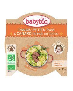 Babybio Assiette Panais, Petits Pois, Canard Biologique dès 15 Mois 260g