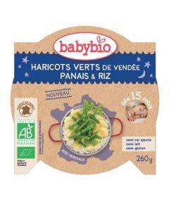 Babybio Assiette Bonne Nuit Haricots Verts, Panais, Riz Biologique dès 15 Mois 260g