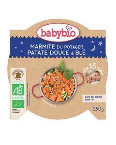 Babybio Assiette Bonne Nuit Marmite du Potager, Patate Douce, Blé Biologique dès 15 Mois 260g