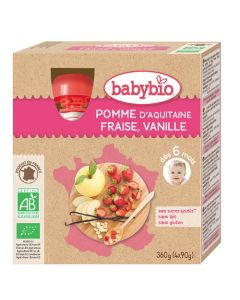 Babybio Gourde Pomme, Fraise, Vanille Biologique dès 6 Mois 4x90g