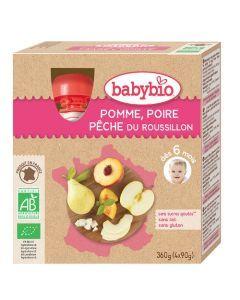 Babybio Gourde Pomme, Poire, Pêche Biologique dès 6 Mois 4x90g