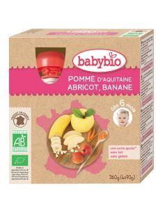 Babybio Gourde Pomme, Abricot, Banane Biologique dès 6 Mois 4x90g