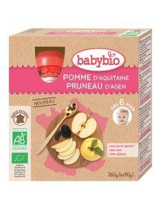 Babybio Gourde Pomme & Pruneau d'Agen Biologique dès 6 Mois 4x90g