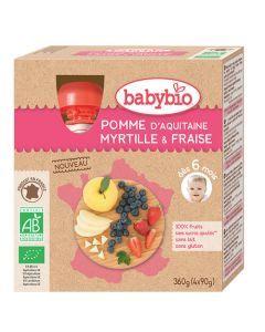 Babybio Gourde Pomme, Myrtille, Fraise Biologique dès 6 Mois 4x90g