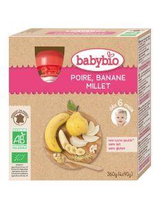 Babybio Gourde Poire, Banane, Millet Biologique dès 6 Mois 4x90g