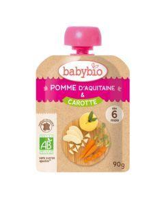 Babybio Gourde Pomme d'Aquitaine & Carotte Biologique dès 6 Mois 90g