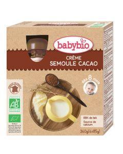 Babybio Gourde Crème Semoule Cacao Biologique dès 6 Mois 4x90g